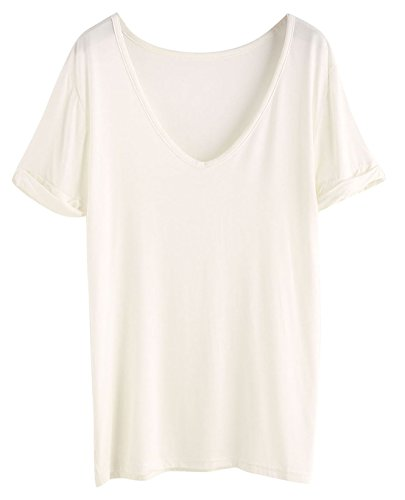 White V-neck Tee (SheIn Women's Summer Short Sleeve Loose Casual Tee T-Shirt White# Medium)
