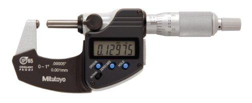 - Mitutoyo 395-371 Digital Spherical Face Micrometer, Inch/Metric, Ratchet Stop, Spherical Anvil/Spindle, 0-1