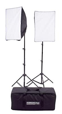 "StudioPRO Photography Photo Video Studio Continuous Two Light 4 Socket AC Power Light With 16""x24"" Softboxes, 1800 Watt Output Lighting Kit by Fovitec Usa International Inc"