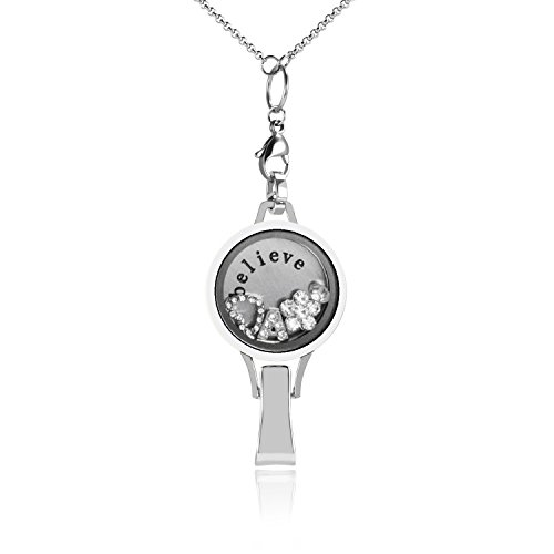 Floating Locket Lanyard with Badge Holder Included Chain and Choice of 6 Charms and 1 Plate (Silver White) -