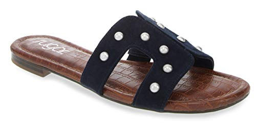 Sugar Women's Outing H Band Sandals with Faux Crocodile Footbed and Studs Navy Micro w/Studs - Blue Navy Stack Summer