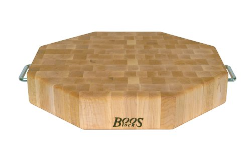 John Boos Maple Wood End Grain Reversible Octagonal Cutting Board with Stainless Steel Handes, 18 Inches x 18 Inches x 3 Inches by John Boos