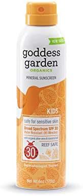 Goddess Garden Organics SPF 30 Kids Mineral Sunscreen Continuous Spray Lotion for Sensitive Skin (6 oz. Bottle) Reef Safe, Sheer Zinc & Titanium, Non-Nano, Vegan, Leaping Bunny Cruelty-Free
