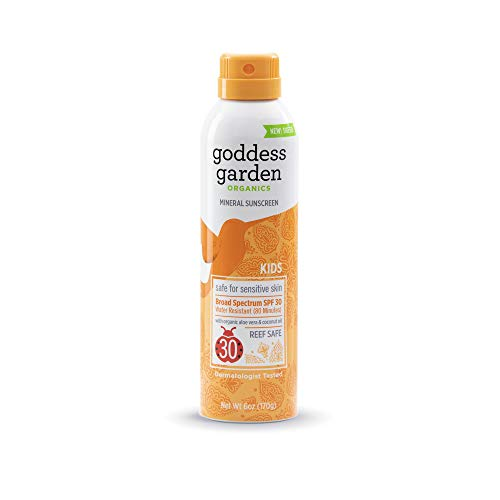 Goddess Garden Organics SPF 30 Kids Mineral Sunscreen Continuous Spray for Sensitive Skin (6 oz. Bottle) Reef Safe, Sheer Zinc & Titanium, Water Resistant, Non-Nano, Vegan, Leaping Bunny Cruelty-Free