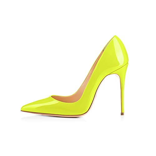 GENSHUO High Heel 10cm/394 Inch Stiletto High Heel Shoes for Women Pointed Toe Party Evening Dress Pumps Prom 10cm FY 6 Fluorescent Yellow