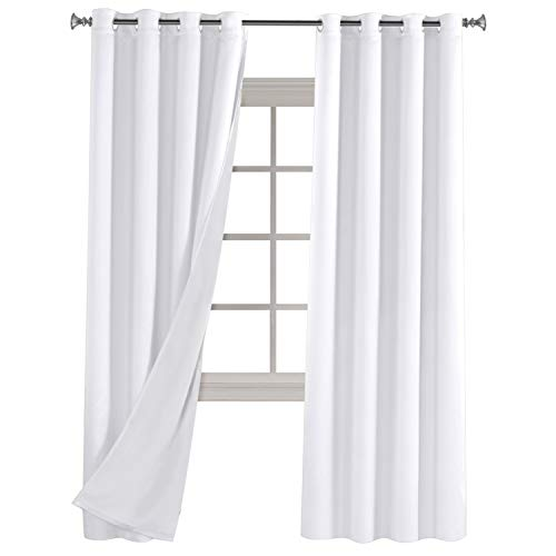 Blackout Lined Curtains Thermal Insulated Satin Curtain Panel Multi-Function Window Dressing with Thick White Layers 96 inches Long 2 Pannel Set for Bedroom Draperies 52 by 96 Inch