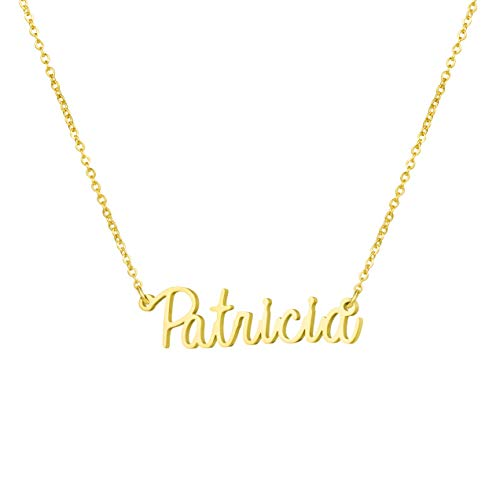 Awegift Personalized Name Necklace 18K Gold Plated New Mom Bridesmaid Gift Jewelry for Patricia ()