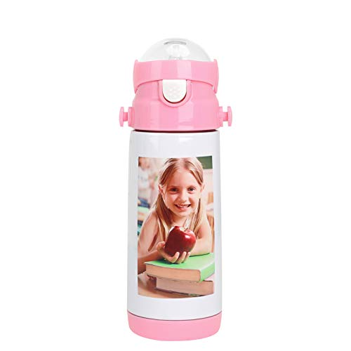 Kids Portable Personalized Custom Photo Thermos Cup Boys Girls Vacuum Insulated Stainless Steel Image Photo Picture DIY Print Water Bottle Sports Travel Hot Cold Drinks Kettle Christmas Birthday Gift