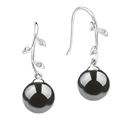 Honora Black 9-10mm AAA Quality Tahitian 14K White Gold Cultured Pearl Earring Pair For Women