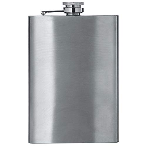 (Maxam 8oz Stainless Steel Flask, Lightweight Drinking Hip Flask with a Screw-On, Leak Proof Lid, Polished Silver, 8 Ounce Capacity)