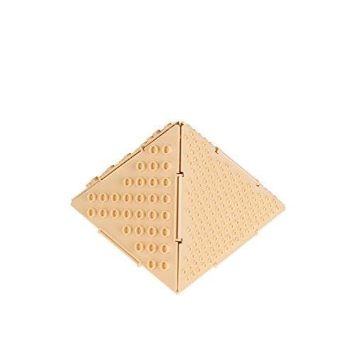 Strictly Briks - Ensemble de construction 3D THE PYRAMID (la Pyramide) - 5 plaques interconnectées/double-face petits/gros tenons - compatible avec toutes les grandes marques/brevet en instance - sable