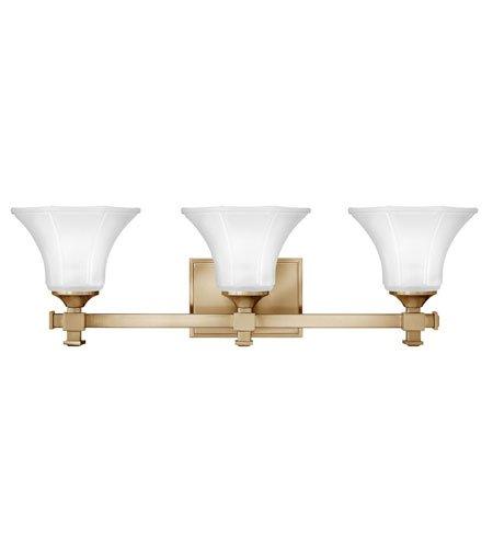 - Hinkley 5853BC, Abbie Reversible Glass Wall Vanity Lighting, 3 Light, 300 Watts, Brushed Caramel