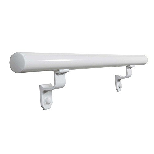 Ez Handrail - EZ Handrail 1.9 in. x 72 in. Round White Aluminum Hand Rail with End Caps for Interior and Exterior Use