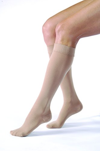 (JOBST Relief 20-30 mmHg Compression Socks, Knee High with Silicone Band, Beige, Large)