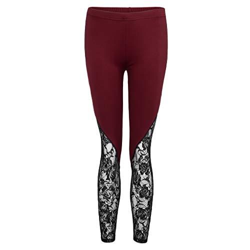 Allywit Fashion Women Lace Plus Size Skinny Pants Yoga Sport Pants Leggings Trousers Workout Running Leggings Wine by Allywit- Women (Image #7)