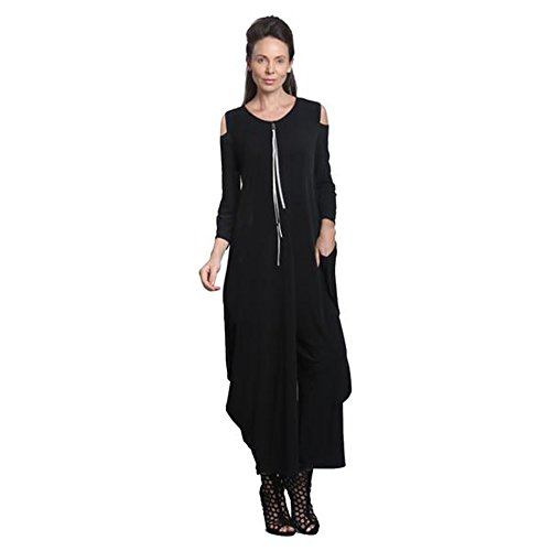 IC Collection Cold Shoulder Jumpsuit In Black Plus Size Available 8419 (Large) by IC Collection