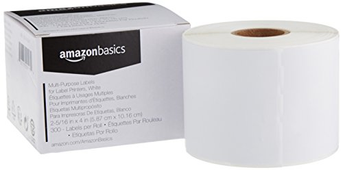 AmazonBasics Multi-Purpose Labels for Label Printers, White, 2-5/16 x 4 Inch, 300 Labels per Roll, 1 Roll (Label Sticker Roll)
