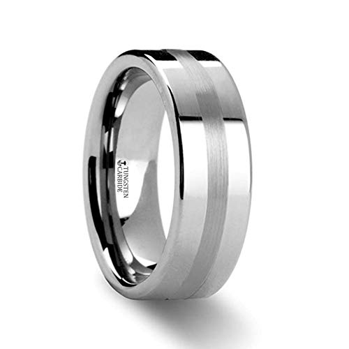 (Ivar Platinum Inlaid Flat Tungsten Wedding Band)