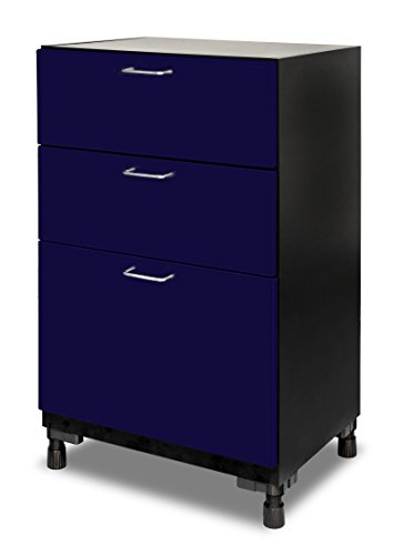 "Mustang Rack MS-03BSPC-BB - 3 Drawer Base Cabinet, DuraSeam Powder Coated - 37""H x 24""W x 18-5/8''D, Bandit Blue by Sentron International"