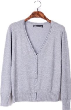 Candy pure color edge knitting cardigan, sweater coat,one size,light grey
