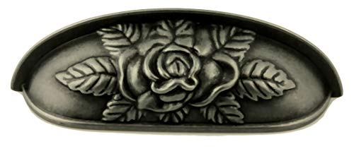 Antique Pewter Old Rose Pattern Drawer Cup Pull 3-3/4