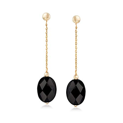 (Ross-Simons Oval Black Onyx Bead and 14kt Yellow Gold Chain Drop Earrings )