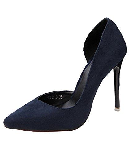 Col Semplice Donna Elegante Scarpe Tacco MIneroad Sandali Partito Scamosciato Sera Blu Stiletto Di qpEnOYp6c