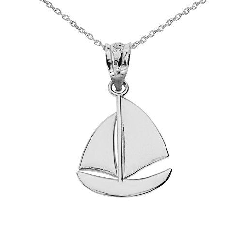 Fine 10k White Gold Nautical Sailboat Charm Pendant Necklace, 18""