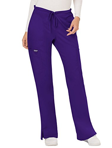 Cherokee Women's Mid Rise Moderate Flare Drawstring Pant, Grape, Large