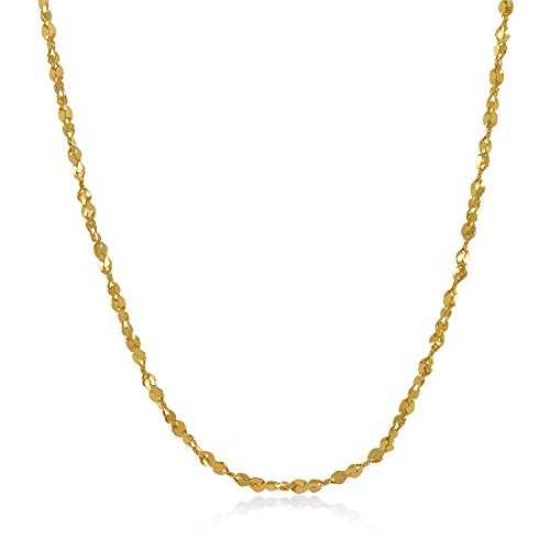 - The Bling Factory 2mm Gold Plated Twist Nugget Chain Necklace, 16