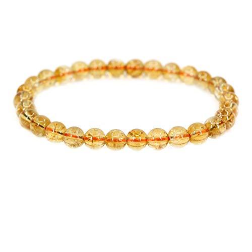 Natural AA Grade Citrine Gemstone 6mm Round Beads Stretch Bracelet 7 Unisex