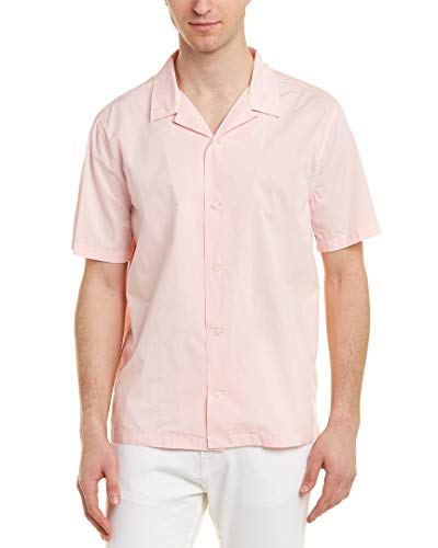 Vince Mens Poplin Cabana Buttondown Shirt, M, Pink