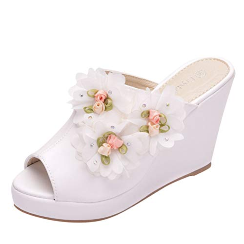 ◕‿◕Watere◕‿◕ Women Sandals, Roman Peep Toe Flower Platform Slipper Wedges Shoes Fish Mouth Sandals Thick Bottom White