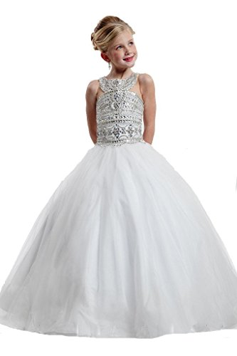 Sunday Girls Tulle Beaded Crystal Ball Gowns Full Length Pageant Dresses 16 US White by Sunday Inc