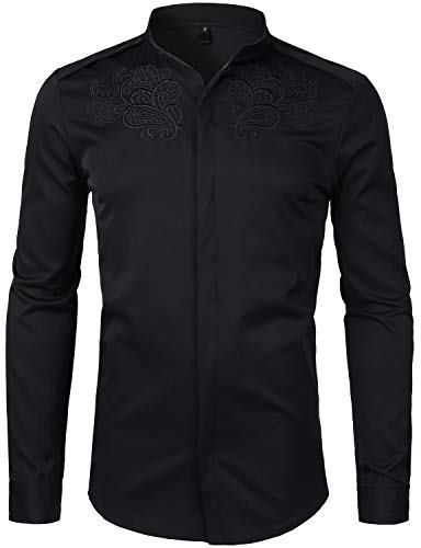 Band Xxl Shirts (ZEROYAA Mens Hipster Slim Fit Long Sleeve Mandarin Collar Shirts with Designer Embroidery ZHCL14 Black XX-Large)