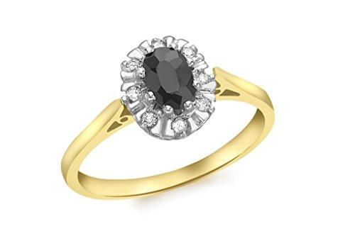 Jewellery World Bague en or jaune 9carats Diamant et Saphir Bague Grappe