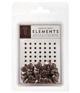 American Crafts Elements Medium Glitter Brads Chestnut (American Crafts Elements Brads)