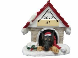 Doghouse Ornament - Doberman Ornament Hand Painted and Personalized Christmas Doghouse Ornament with Magnetic Back ()
