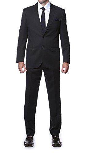 48R Zonettie PARKER Mens 2 Pc Slim Fit Black Tone On Tone Striped Suit (Black On Black Suit)