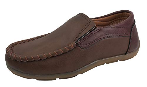 (Boys Boat Dress Shoes Slip On Loafer Oxford Faux Leather, C6503 Camel, 10)