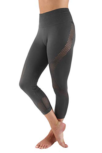 Aekonami AEKO Mesh Compression Workout Pants New 2019 Moisture Wicking Fitness Leggings for Women (L - USA 6-8, Grey - 27N)
