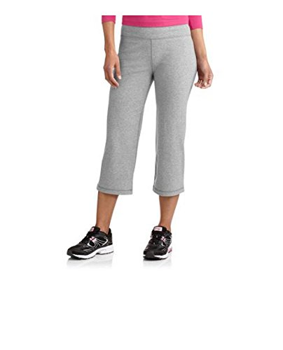 Danskin Now Womens Dri-More Stretch Core Capri Bermuda Pants Activewear Loungewear (L, Gray)