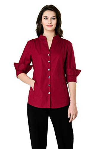 (eShakti FX High Neck Cotton poplin Shirt Lakehouse red)