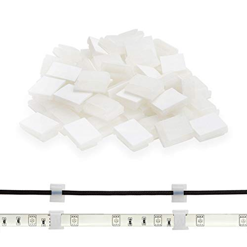 Strip Light Mounting Bracket Clip,ProPOW Cable holder clip for 5050 3528 5630 2835 3014 LED Strip Lights(White 60pcs) (Christmas Lights Holder)