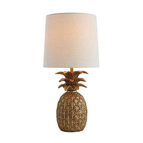 Creative Co-op Pineapple Shaped Table Lamp with Distressed Gold Finish & Linen Shade (Table Lamps Creative)