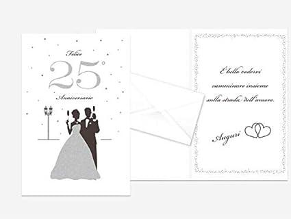 Auguri Anniversario Matrimonio 25 Anni.Biglietto Di Auguri Augurale Di 25 Anniversario Con Glitter