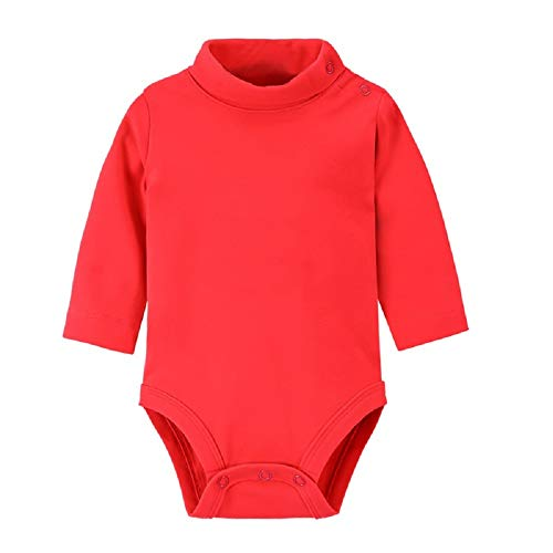 Hooyi Baby Girls Long Sleeve Pure Solid Turtleneck Bodysuit Newborn Cotton Clothes (Red, 3Month) -