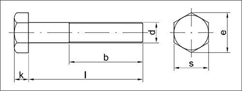 Pure Copper 36X220/Pack of 5/Quality: Basic Aparoli SJA-65052/QB DIN 931/Hexagonal Screws with Shaft Set