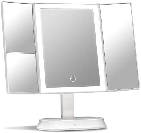 Fancii Trifold Makeup Mirror with Natural LED Lights, Lighted Vanity Mirror with 5x 7x Magnifications – 58 Dimmable Lights, Touch Screen, Cosmetic Stand Sora
