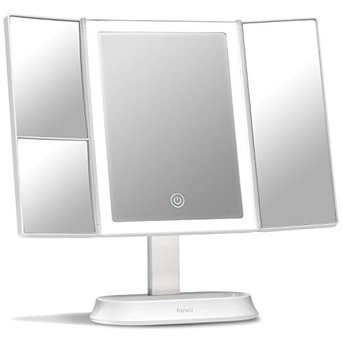 Fancii Trifold Makeup Mirror with Natural LED Lights, Lighted Vanity Mirror with -